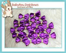 ~BabyRou~ 20pc Dog Grooming Ribbon Pet Bows (Classic Purple & Gold)