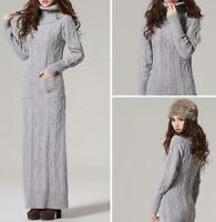 Long Pullover Winter Women Turtleneck Knit Wool Sweater Occident Dress Slim