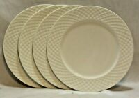"Mikasa Trellis White 9 "" Bone China Salad Plates Set of Four New"