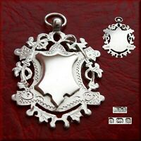 Antique Victorian solid silver fob medal for a pocket watch chain / pendant 1901