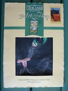 Toland Decorative House Yard Flag Halloween Black Cat & Pumpkin #1525 NIP