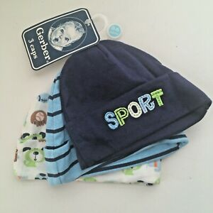 Gerber Baby Boy 3-Pack Sports Navy Striped Caps Size 0-6 Months NEW