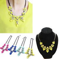Women Crystal Statement Bib Pendant Party Chunky Chain Choker Necklace Jewelry