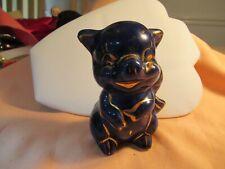 "Adorable Vintage Blue ""Old Time"" Piggy Bank with Gold Tone Trim Sale"