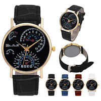 New Men's Leather Band Analog Quartz Movement Business Wrist Watch Black