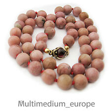 Halskette Rhodonit Steinkette rosa Kugel Granat Silber vergoldet stone necklace