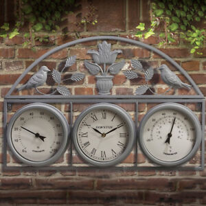 67CM GARDEN WALL WEATHER STATION CLOCK THERMOMETER WATERPROOF HYGROMETER OUTDOOR