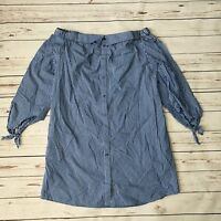 Beige by ECI Off the Shoulder Blue Stripe Shirt Dress New Size 8