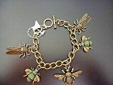 REBAJAS preciosa pulsera color oro viejo insectos chica mujer , nuevo