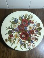 """Vintage OILIVE CAN CHICAGO Floral Needlepoint Storage Tin 9.25"""""""