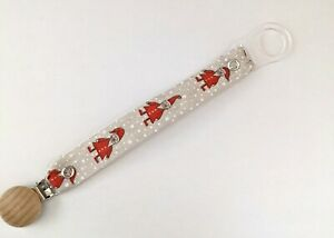 Dummy clips Christmas Santa soother clip unisex pacifier clip