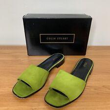 Women's Colin Stuart Sz 11 Green Suede Slides Sandals Open Toe Mules Flats Box