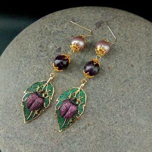 Amethyst Sea Shell Pearl Cz pave Beetle Hook Earrings