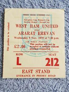 1975 - WEST HAM UTD v ARARAT EREVAN TICKET - CUP WINNERS CUP 2ND RD - 75/76