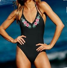 601e47b2e5e VICTORIA'S SECRET EMBROIDERED RUCHED BACK ONE-PIECE SWIMSUIT M *BLACK /FLORAL*