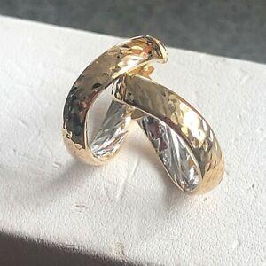 geschwungene bicolor Creolen 375 er Gold mit Muster 9 kt GG Goldcreolen Ohrringe