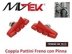 0515 - Coppia PATTINI FRENO MV-TEK Rossi con Pinna per Bici 26-28 Corsa Vintage