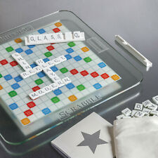 Scrabble Glass Edition with Rotating Game Board Lazy Susan Turntable Tempered