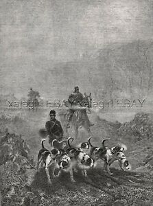 Dog Foxhound Pack Hunting in the Fog, Beautiful Large 1880s Antique Print