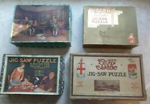 VINTAGE WOODEN JIGSAW PUZZLES x 4 - Chad Valley, Victory, Delta and Beryl