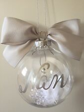Remembrance Memory Personalised Christmas Bauble Any Name & Colour With Angle