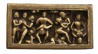 Statuetta Basso Rilievo Erotico IN Ottone India Kamasutra India Curiosa Gc 8951