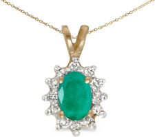 10k Yellow Gold Oval Emerald And Diamond Pendant (Chain NOT included)