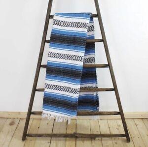 Blue Blanket Throw Rug Large stripe Handmade Fair Trade Authentic Mexican Falsa