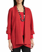 Eileen Fisher Red Lightweight Boiled Merino Wool Sweater Coat, Size S