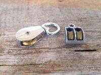 Vtg Small Pulley Brass Art Display Steampunk Crafts Mini Iron Metal Wheel