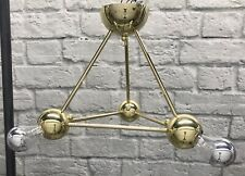 MIDCENTURY MODERN ATOMIC 3 LIGHT FIXTURE - GOLD TONE