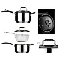 TENZO 22cm STAINLESS STEEL CHIP PAN FRYER WITH LID BASKET INDUCTION 408164