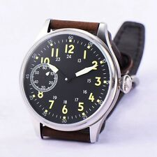 Corgeut 44mm sterial black dial 6497 hand winding Lume mens military wrist watch