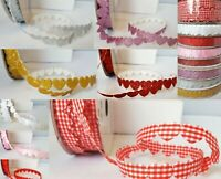 Padded Heart Cut Out Ribbon Gingham - Glitter - Satin - Cut Length x 1m