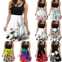 Ladies Women Sleeveless Floral Dress Casual Party Evening Summer Beach Sundress