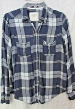 NWOT ABERCROMBIE FITCH NAVY BLUE PLAID SHIRT BUTTON FRONT S