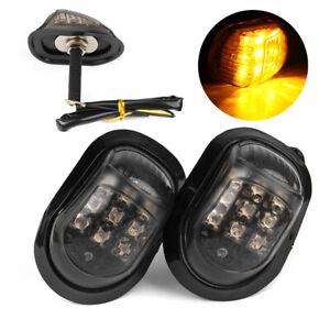2x 9 LED Amber 12V Motorcycle Flush Mount Turn Signals Indicators Blinker Light