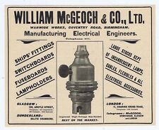 William McGeoch & Co Ltd Electrical Engineers Birmingham - Antique Advert 1904