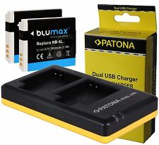 2x Battery Akku Pack NB-6L NB-6LH 1000mAh + Dual Doppel Ladegerät für Canon