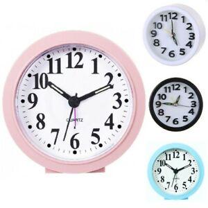 Battery Operated Quartz Alarm Clock No Tick Snooze Silent Small Bedside Clocks