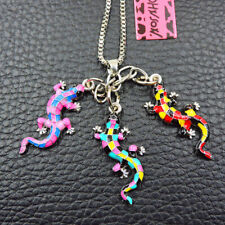 Colorful Enamel Lizard Gecko Pendant Chain Betsey Johnson Necklace Jewelry Gift