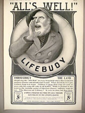 "Lifebuoy Soap PRINT AD - 1903 ~~ Large 11"" x 16"" ~ ""All's Well"" ~ Lever Brothers"