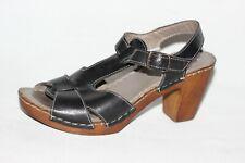 Spring Step Black Leather T Strap Platform Sandal Heels Women's EUR 37 US 7