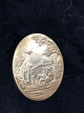Antique Brass Button Cover Picturing Country Home Family