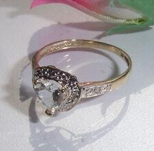 Aquamarin Diamant Ring, 375/- (9K) Gelbgold, RW 17 mm
