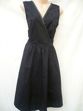 LAURA CLEMENT BLACK WRAPOVER POPLIN DRESS SIZE 12 UK (EU 40)