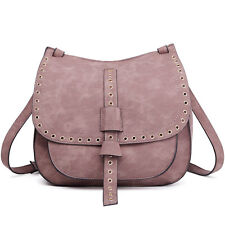 Women Fashion PU Leather Satchel Faux Suede Cross Body Shoulder Saddle Bag Brown