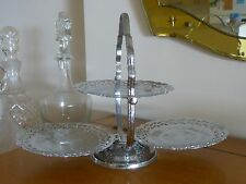 RARE! VINTAGE ENGLISH 1950'S SILVER PLATED FOLDING CAKE STAND!