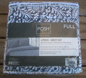 Posh Home 3 Piece Sheet Set Full Size 1 Fitted Sheet - 2 Pillowcases New in Pack