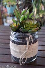 Rustic Industrial ARTIFICIAL Succulent Arrangement Garden GLASS JAR Planter